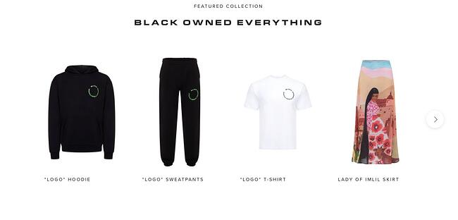 Black owned everything features interactive carousel to display latest product collection