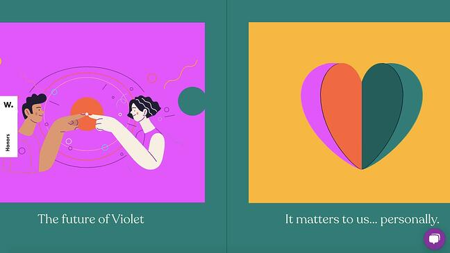 Interactive website violet uses horizontal scrolling and other animation effects