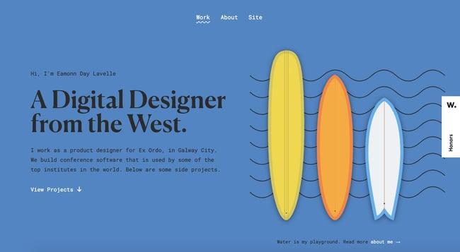 Interactive portfolio website of Eamonn Day Lavelle features interactive navigation elements