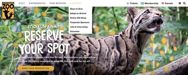 Nashville zoo website displaying sub-navigation menu under primary nav link for Support