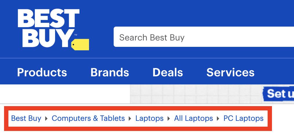 Breadcrumb navigation on Best Buy website
