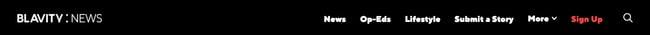 Horizontal Navigation menu on Blavity