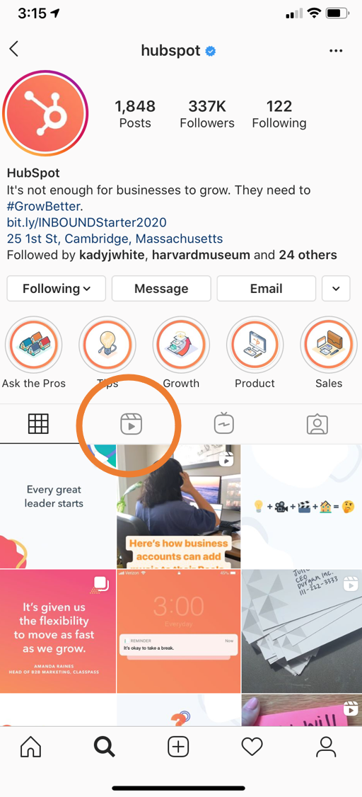 Where to find Instagram Reels on your profile