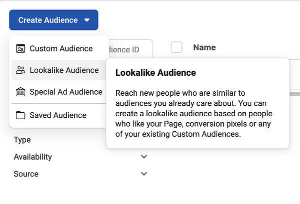 Facebook ad audiences.