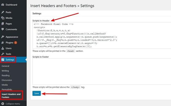 adding facebook pixel wordpress code to a wordpress header