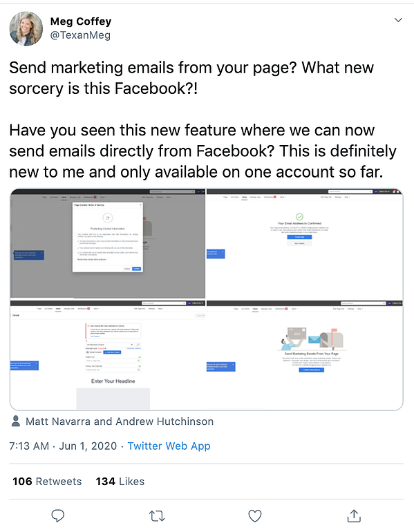 social media manager shares facebook email marketing tool discovery on Twitter