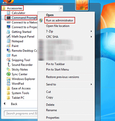 Run as administrator option selected in command prompt to flush DNS in Windows 7