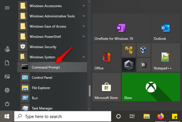 Command prompt selected in Windows 10 start menu to begin flush DNS process