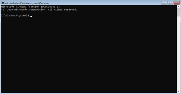 Command prompt window in Windows 10 where you type in command to flush DNS