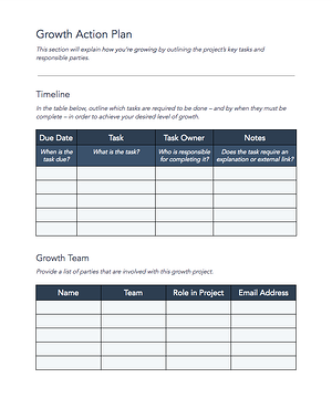 Growth Action Plan Downloadable Template