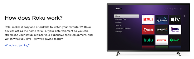 Roku TV web page showing Roku UX and how the product easily works.