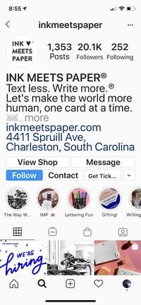 Ink meets paper Facebook shop link on instagrqam Bio