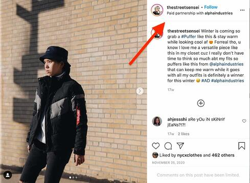 performance marketing example on Instagram