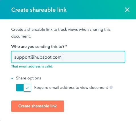 Sending a link to a HubSpot document