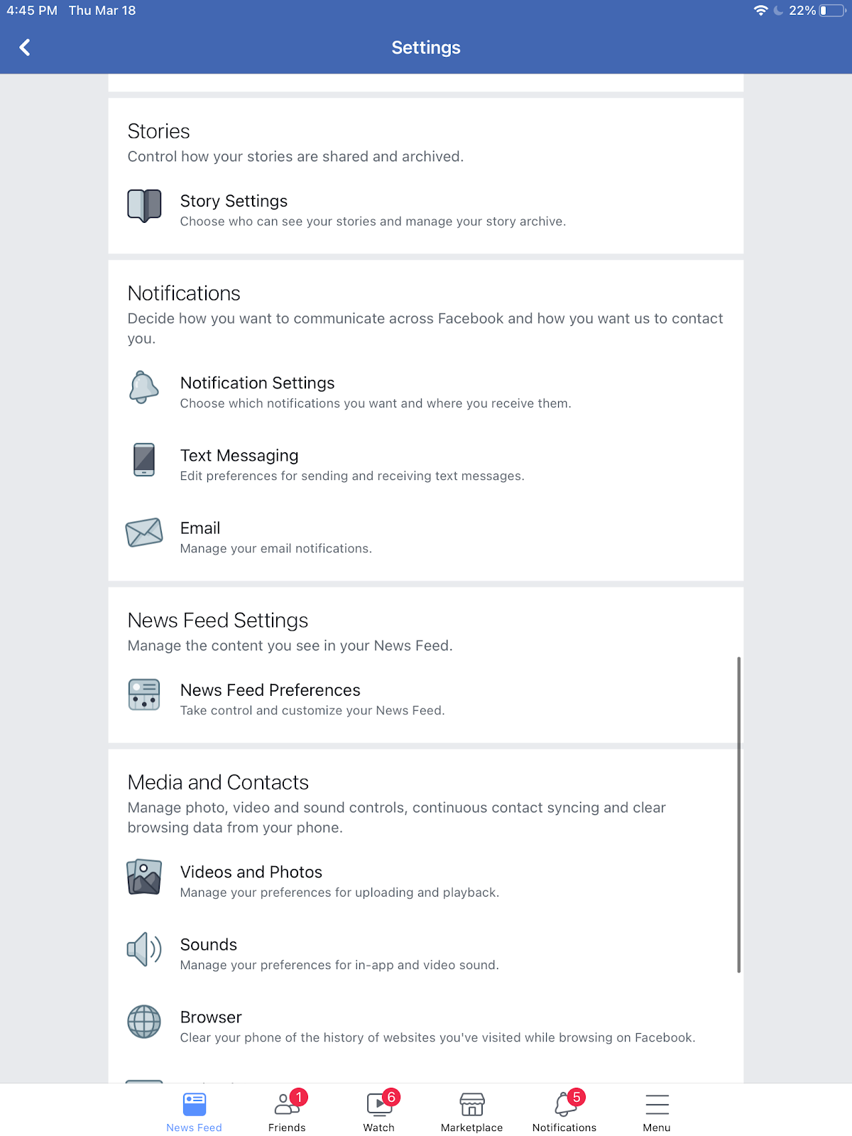 Facebook newsfeed preferences