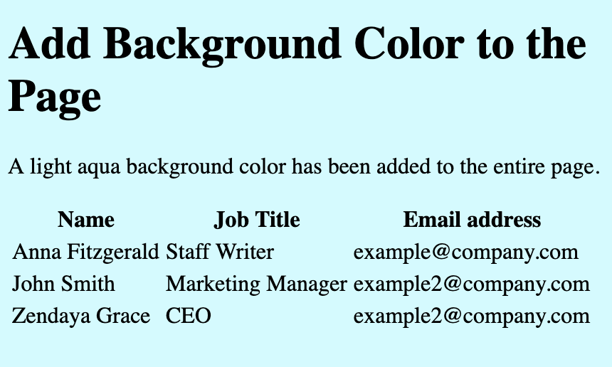 A web page with a light aqua background color