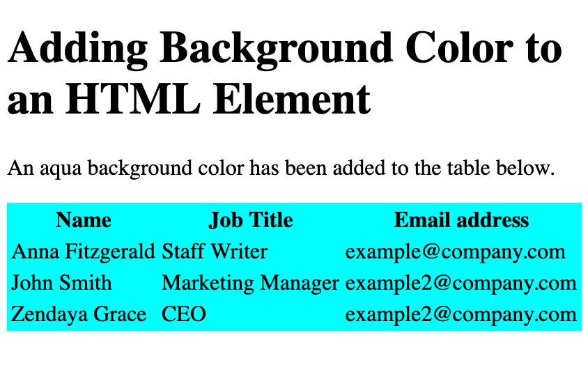 An HTML table element with aqua background color