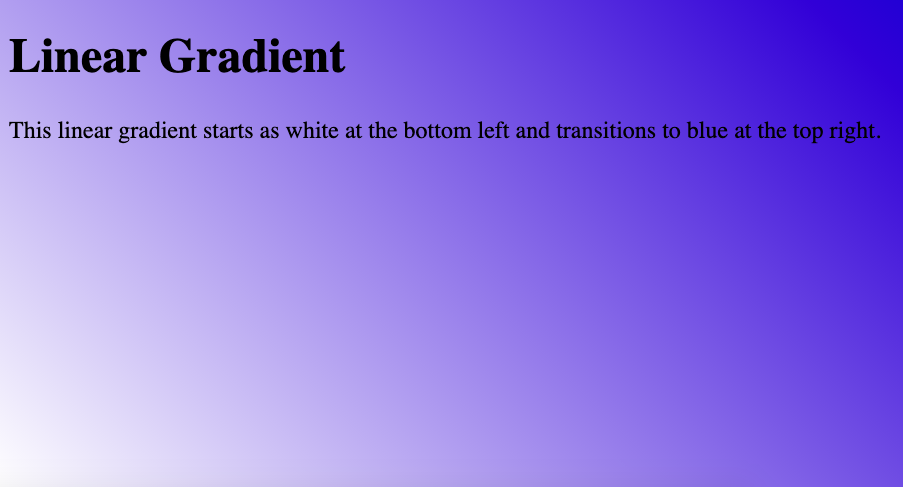 HTML Background Color Gradient with 45 degree angle