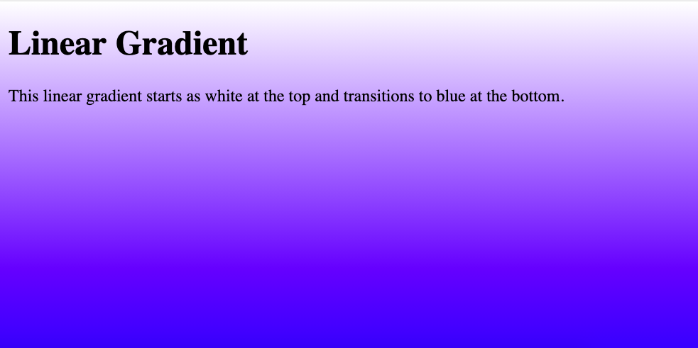 HTML Background Color Gradient top to bottom