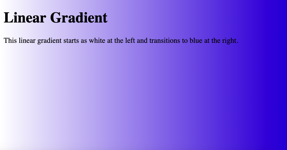 HTML Background Color Gradient left to right