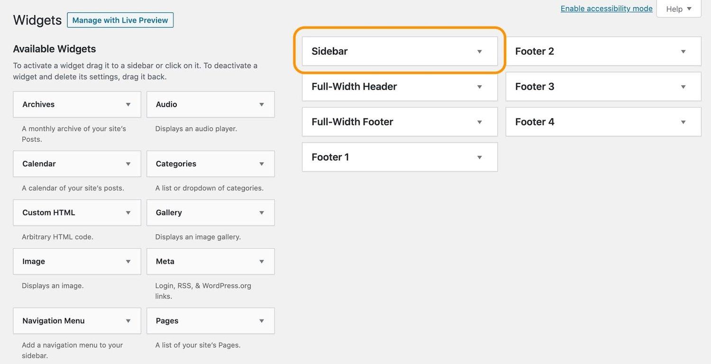 adding a blog sidebar in the wordpress widgets menu