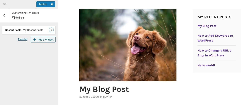 adding a blog sidebar in the wordpress customizer