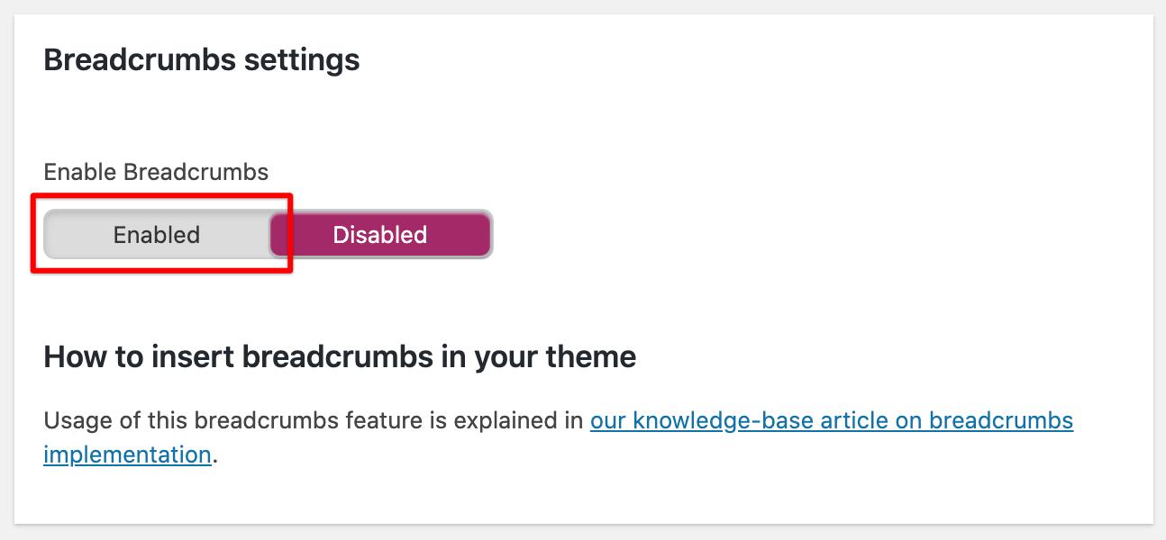 the button to enable wordpress breadcrumbs in the Yoast SEO wordpress plugin