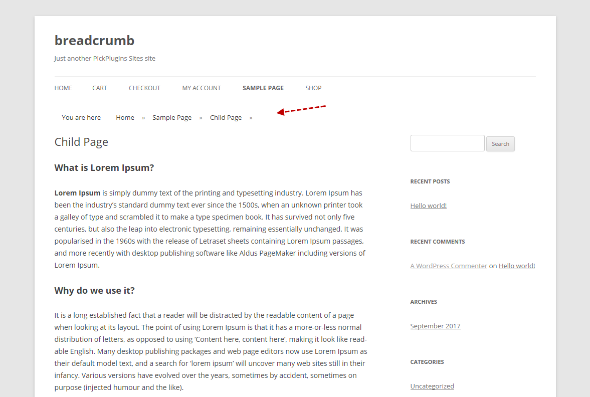 WordPress breadcrumbs example in Breadcrumb plugin