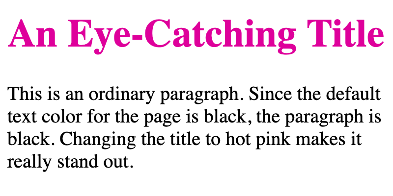 A heading targeted with internal CSS is hot pink