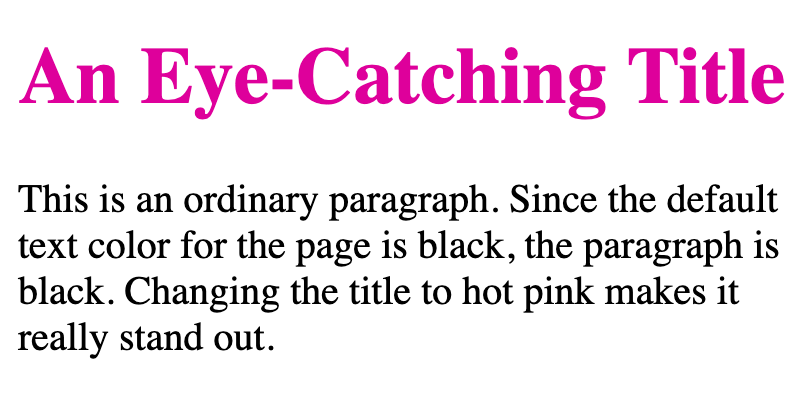 A heading targeted with inline CSS is hot pink