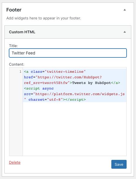 twitter feed embed code pasted in a custom html widget in wordpress
