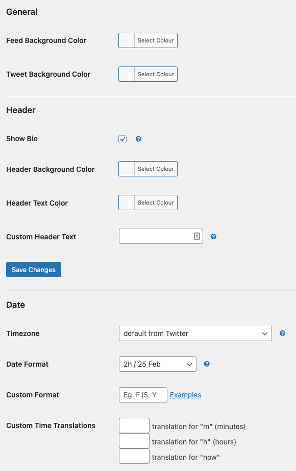 the style screen in the Custom Twitter Feeds twitter feed plugin