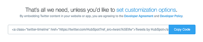 embed code provided by twitter publish