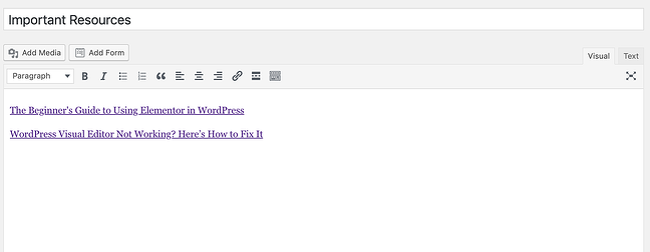 visual editor to add widget to WordPress page