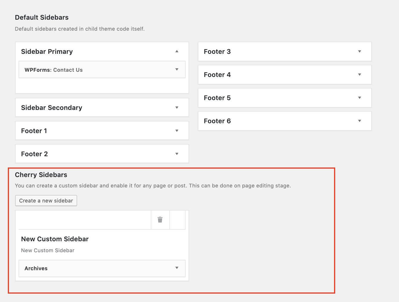 cherry sidebars plugin to add widget to WordPress page