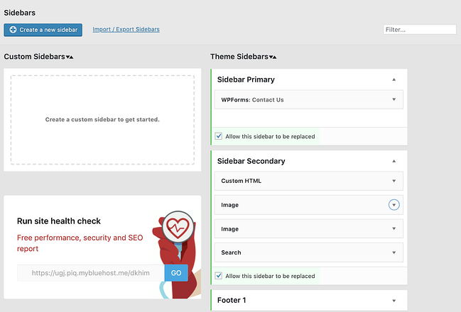 custom sidebars plugin to add widget to WordPress page