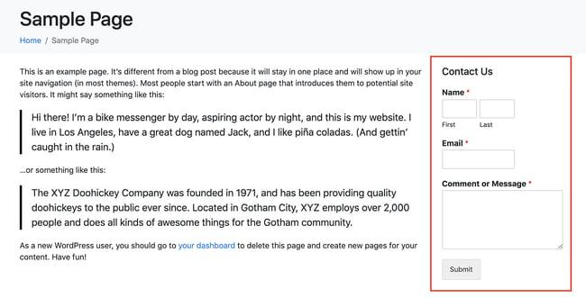 custom form widget example showing how to add widget to WordPress page