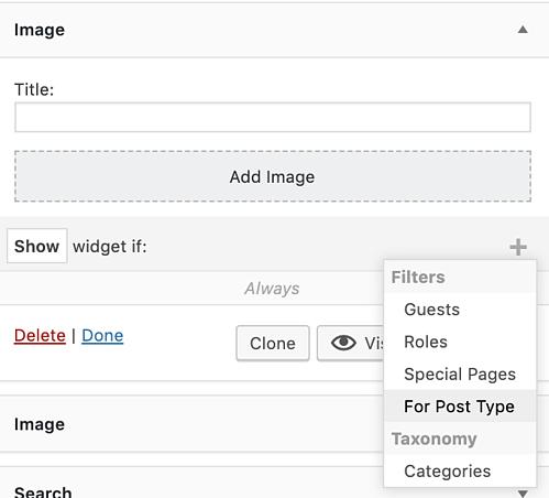 filter options in custom sidebars to add widget to WordPress page
