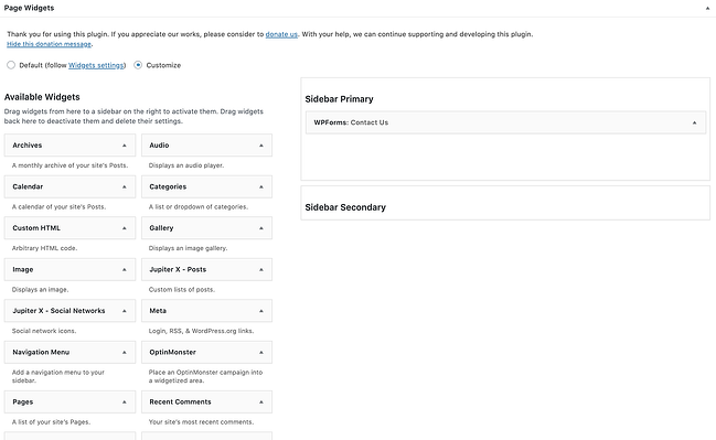 page widgets section to add widget to WordPress page
