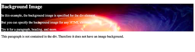 Setting background image of a div element in HTML
