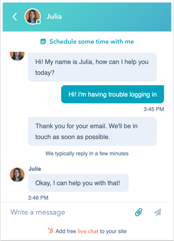 HubSpot live chat transcript to collect customer feedback