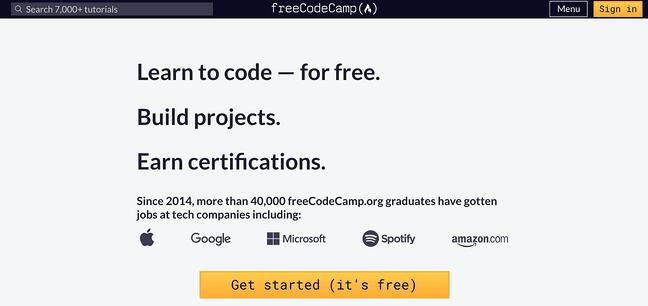 become a web developer: freecodecamp homepage