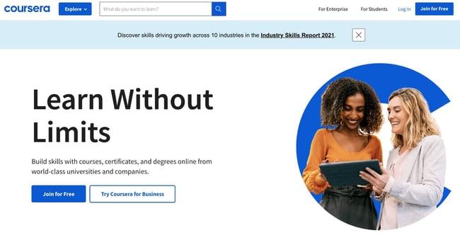 become a web developer: coursera homepage