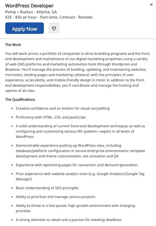 WordPress developer job description on Indeed