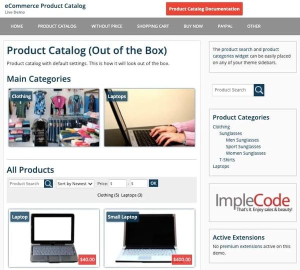 ecommerce product catalog plugin demo
