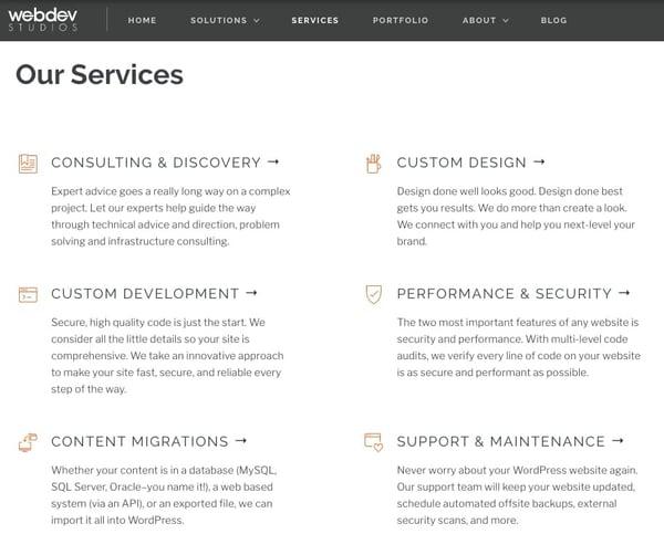 webdevstudios services page