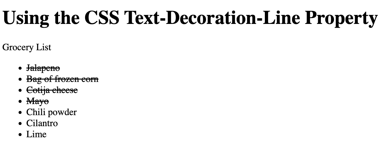 List with items marked as strikethrough using CSS text-decoration-line property