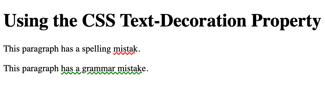 Spelling and grammar mistake underlined with red and green wavy lines using CSS text decoration property