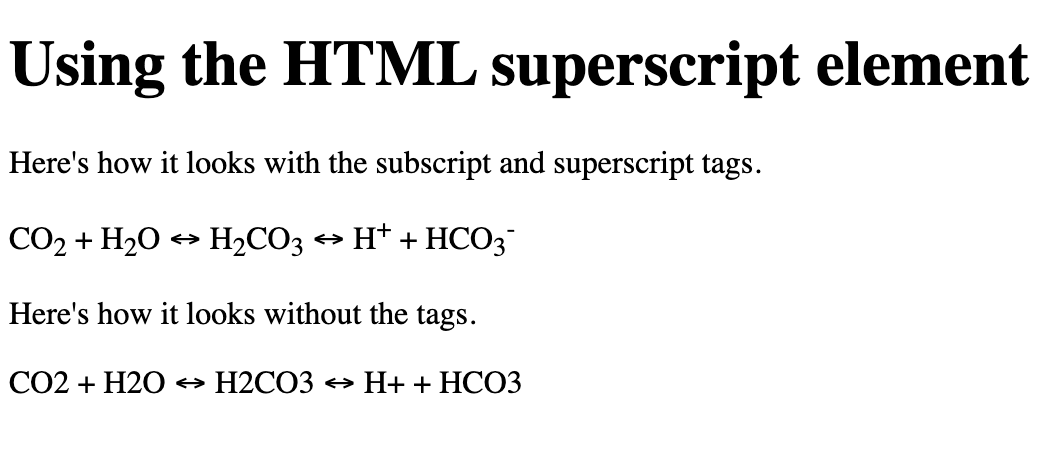 Subscript and superscript text included in chemical formula
