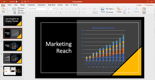customized graphs from free monthly marketing templates in PowerPoint